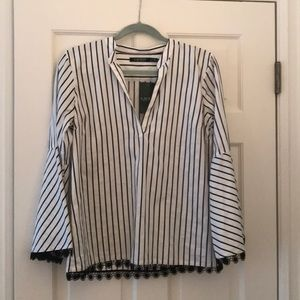 New Ralph Lauren Black and white striped blouse